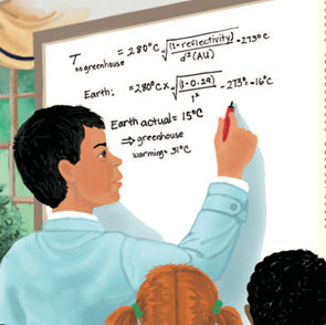 This illustration, from the author's children's book The Wizard Who Saved the World (Big Kid Science 2012), shows the main character (Diego) doing an actual calculation for Earth's temperature in the absence of greenhouse warming, from which we conclude that Earth is warm enough for life only because of the greenhouse effect caused by carbon dioxide and other greenhouse gases.