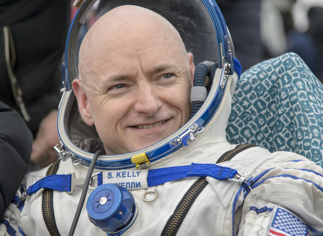 Astronaut Scott Kelly returned from nearly a year in space Tuesday with a certain youthful glow. (Photo by Bill Ingalls/NASA via Getty Images)